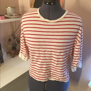 Red and White Striped Crop Tee with Sheer Panel